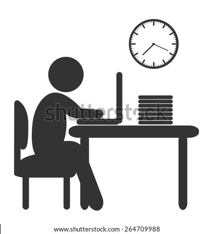 Flat computer work icon isolated on white background - stock vector