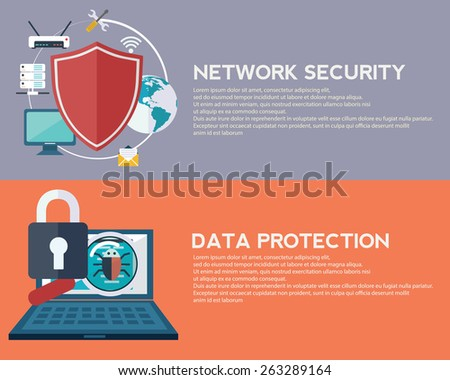 Flat computing background. Data protection and Network security. Innovation and technologies. Mobile app - stock vector