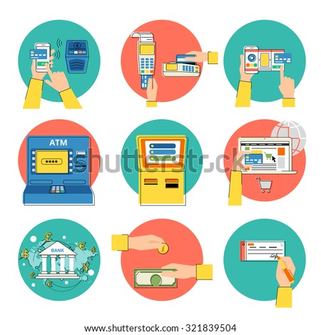 Flat concept contour illustrations set of payment methods such as credit card, nfc, mobile app, atm, terminal, website, bank transfer, cash and invoice - stock vector
