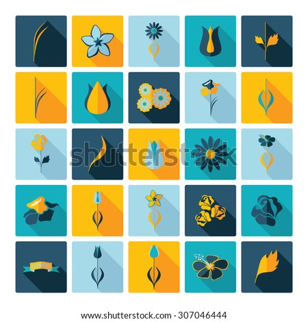 Flat concept design with shadow collection flowers - stock vector