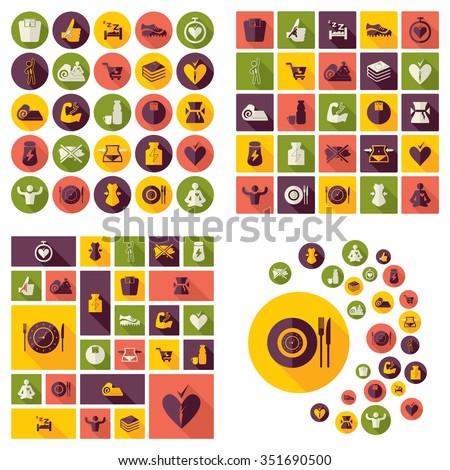 Flat concept design with shadow  Set healthy Eating - stock vector