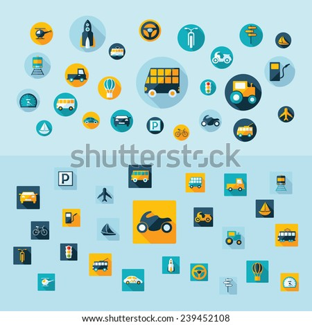Flat concept, design with shadow. Set modern Icons mobile applications and web design. Working optimization:  transportation - stock vector