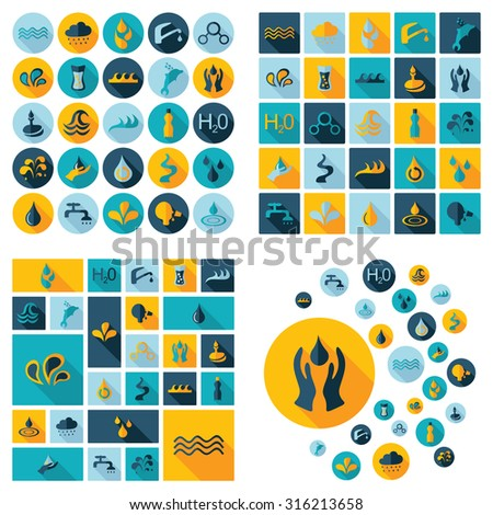 Flat concept design with shadow  Set water - stock vector