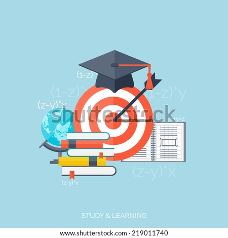 Flat concept education background. Back to school. Distance learning. Study in university.   - stock vector