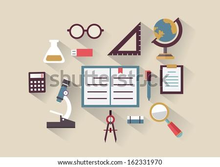 Flat Concept Education Knowledge Symbols Education Stock Vector