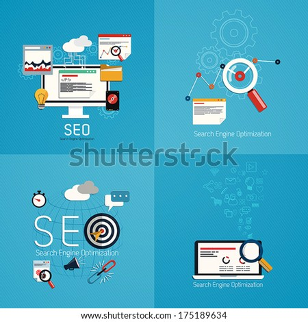 Flat concept of seo process- SEO data analysis. Vector - stock vector