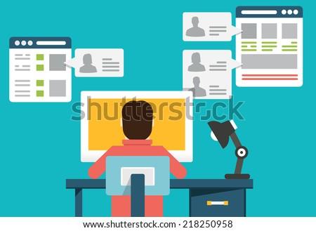 Flat concept of social media - vector illustration - stock vector