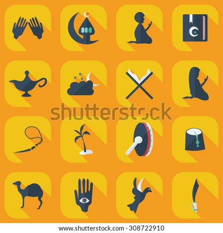 Flat concept, set modern design with shadow Arab icon - stock vector