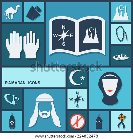 Flat concept, set modern design with shadow icons for web design and mobile applications, SEO. search Engine Optimization:  Ramadan icons - stock vector