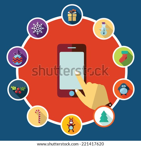 Flat concept, set modern design with shadow vector icons for web design and mobile applications, SEO. search Engine Optimization:  happy new year