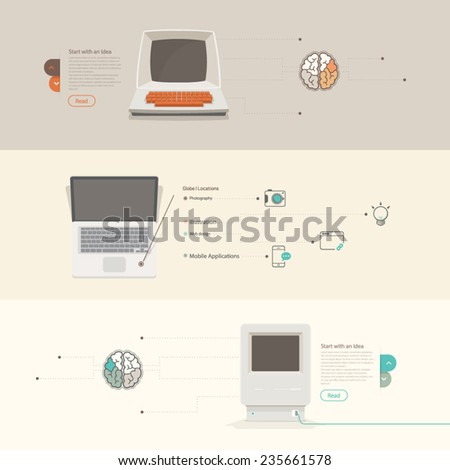 Flat Concept Technology elements with icons for website, banner and print templates - stock vector