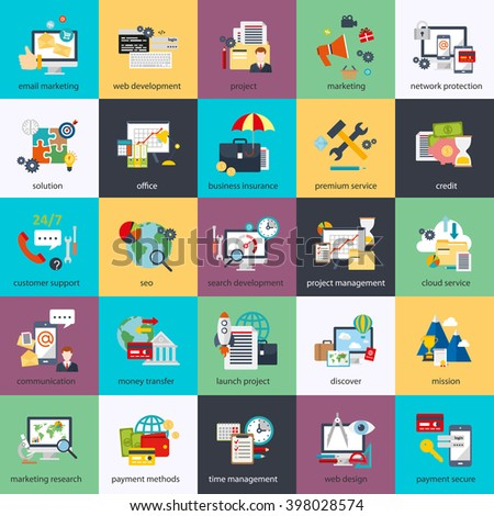 Flat conceptual icons set of seo monitoring and digital marketing, creative process, business and finance, office, teamwork, data analysis, startup, planning and web analytics. Flat vector icon. - stock vector