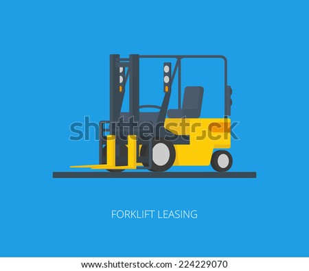 Flat conceptual illustration of yelllow forklift on blue background - stock vector
