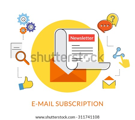 Flat contour illustration of daily newsletter with socal media line icons - stock vector