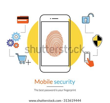 Flat contour illustration of fingerprint protection smartphone for doing online shopping. - stock vector