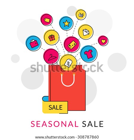 Flat contour illustration of red shopping bag with commercial icons for sale - stock vector