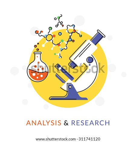 Flat contour illustration of the microscope icon with chemical symbols isolated on white - stock vector