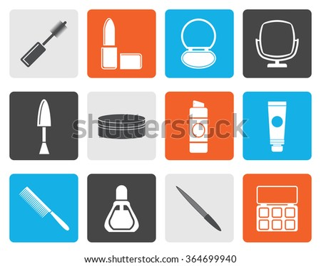 Flat cosmetic and make up icons - vector icon set  - stock vector