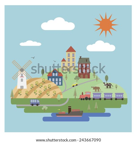 Flat countryside landscape - stock vector