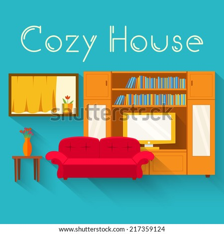 Flat cozy room in house with furniture background vector illustration concept - stock vector