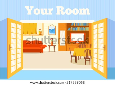 Flat cozy room in house with open doors background vector illustration concept - stock vector