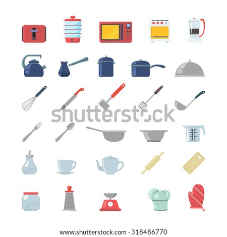 Flat creative style kitchenware object electronics modern infographic vector icon set. Toaster dry cooker microwave oven coffee maker pot gezve pan cookware scales mixer. Kitchen icons collection. - stock vector