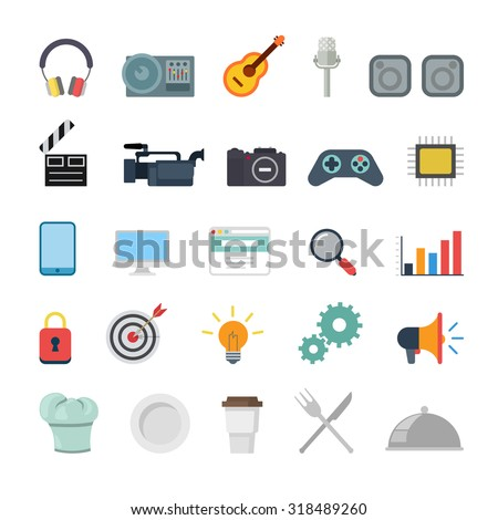Flat creative style modern misc media production promotion cooking infographic vector icon set. Miscellaneous icons collection. - stock vector