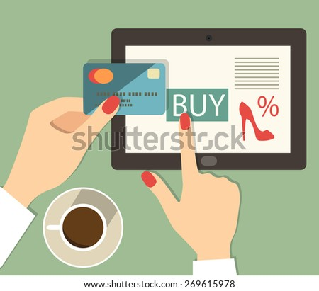flat credit card mobile buy hands.vector illustration - stock vector