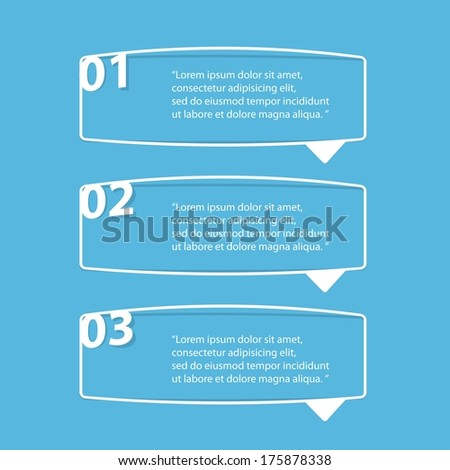 flat cut paper white banners on blue background / can be used for infographics / numbered banners / horizontal cutout lines / graphic or website layout vector / brochure or cover design - stock vector