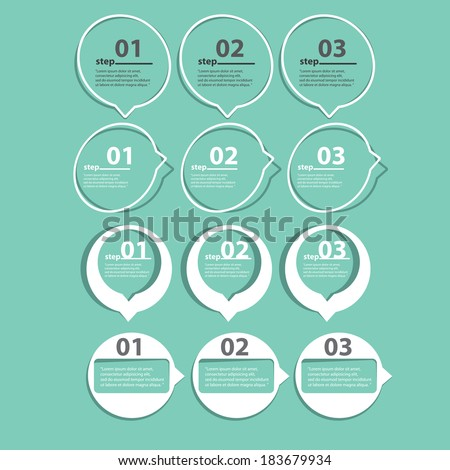 flat cut paper white banners on on stylish turquoise background / can be used for infographics / numbered banners / graphic or website layout vector / brochure or cover design - stock vector