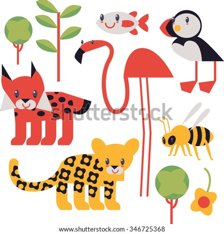 flat cute geometric comic funny animal set for books, apps, stickers, badges, interior design or flash card games for children. Tree, flamingo, puffin, jaguar, lynx, bee - stock vector