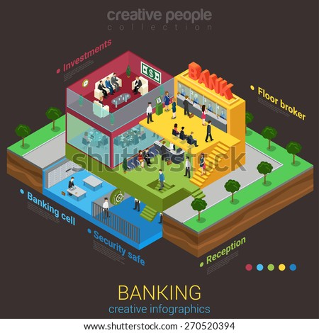 Flat 3d isometric abstract bank building floor interior departments concept vector. Reception safe depository meeting room workplaces top management indoor stairs. Creative business people collection. - stock vector