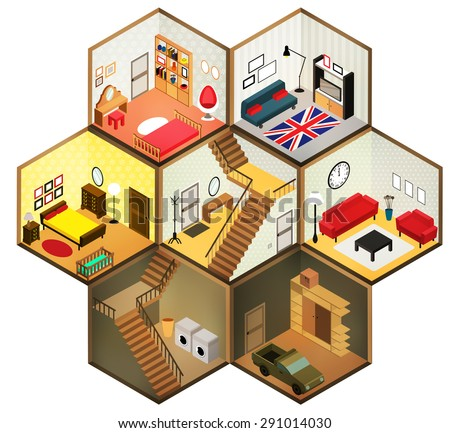 Flat 3d isometric abstract  interior living rooms. Vector isometric rooms icon - stock vector