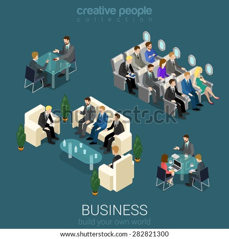 Flat 3d isometric abstract office building floor interior detail elements concept vector. Negotiations meeting room business lunch airplane trip seats. Creative people business world collection. - stock vector