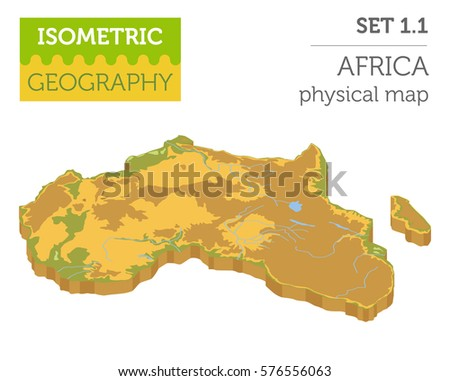 Flat 3d Isometric Africa Map Elements Stock Vector 576556063