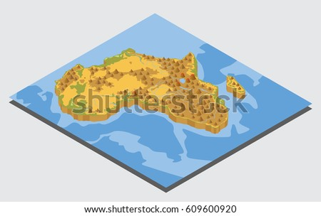Flat 3d Isometric Africa Map Elements Stock Vector 609600920