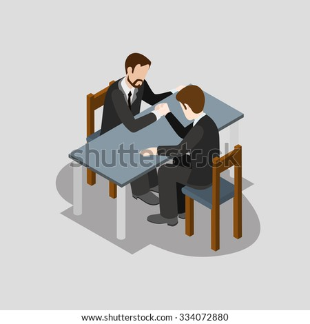 Flat 3d isometric business competition arm wrestling concept web infographics vector illustration. Creative people collection.