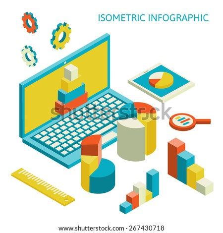 Flat 3d isometric business finance analytics, chart graphic report on tablet web infographic concept vector.  - stock vector