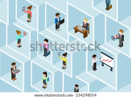 Flat 3d isometric business people professional diversity web infographic concept vector. Different professions businessman businesswoman in square room slots wall. Social network teamwork. Headhunting - stock vector