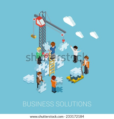 Flat 3d isometric business solutions web infographic concept vector. Crane construction building puzzle pieces. People constructing, manager boss foreman, pallet. Innovations, teamwork and leadership. - stock vector