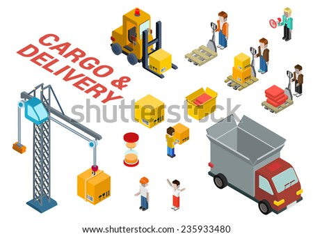 Flat 3d isometric cargo delivery shipment loading web infographic concept vector icon set template. Delivery van, crane, manager, foreman, box, crate, hourglass, loader, pallet and movers icons. - stock vector