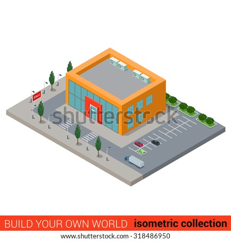 Flat 3d isometric city mall supermarket building block infographic concept. Build your own infographics world collection.
