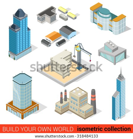 Flat 3d isometric city skyscraper building block construction place infographic set. Mall power plant storage warehouse public municipal house. Build your own infographics world collection.