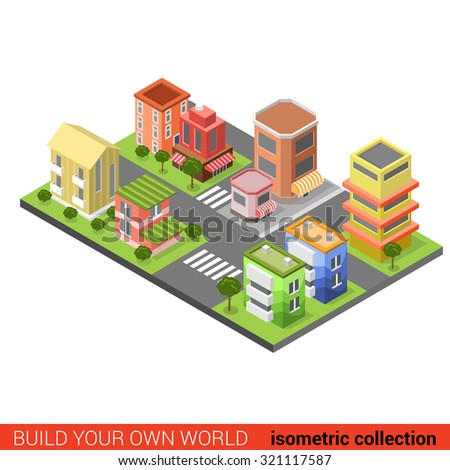 Flat 3d isometric city  street cross building block infographic concept. Build your own infographics world collection.