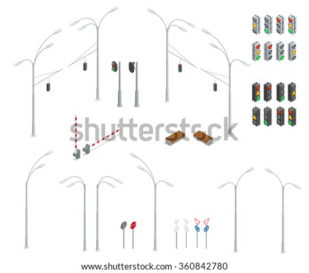 Flat 3d isometric city street urban objects icon set. Traffic light, street lights, stop road, bench  isolated. Infographic collection. Traffic signs graphic elements isolated on white background - stock vector