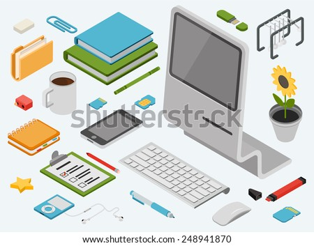 Flat 3d isometric computer technology workspace infographic concept vector icon set. All in one desktop PC, smart phone, books, folder, memory card, address book, music player, flower, wireless mouse. - stock vector
