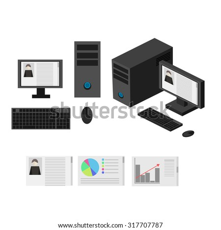 Flat 3d isometric computerized technology designer work space infographic concept vector.