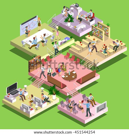 Flat 3d isometric concept business multistoried office center with scheme of floors and activities. Reception,business meeting, training, teamwork, leadership room, workplaces, creative focus group. - stock vector