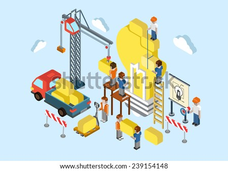 Flat 3d isometric creative idea planning, brainstorming web infographic concept vector. Crane, lorry, people making big light bulb lamp sign. Business, commerce, startup, innovation concept. - stock vector