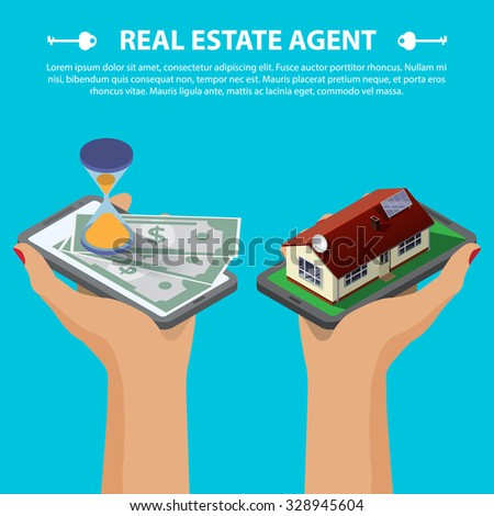 Flat 3d isometric creative mobile real estate sale web infographics concept. Two hands with smartphone on micro house street block and with hourglass and money. Isometric illustration - stock vector